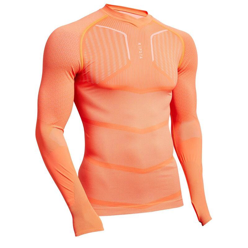 Voetbalondershirt met lange mouwen voor heren Keepdry 500 oranje