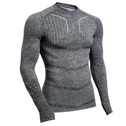 Ondershirt met lange mouwen voor voetbal heren Keepdry 500 gemêleerd grijs
