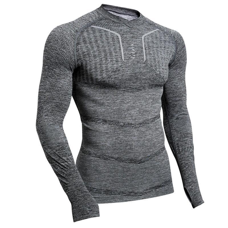 Thermoshirt Keepdry 500 lange mouw unisex gemêleerd grijs