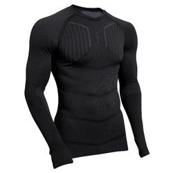 Voetbalondershirt met lange mouwen voor heren Keepdry 500 zwart