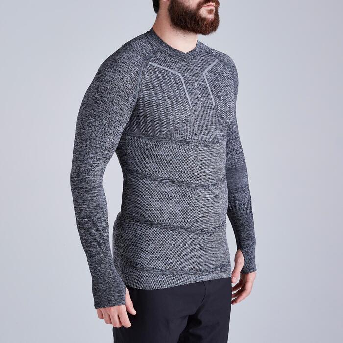 Thermoshirt Keepdry 500 lange mouw gemêleerd grijs unisex