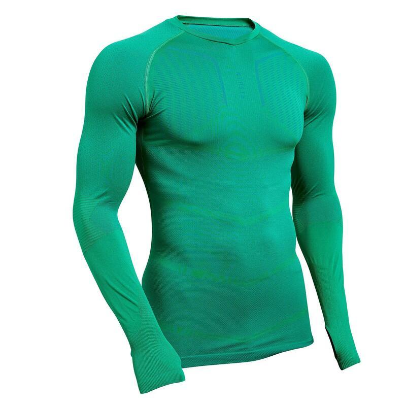 Ondershirt met lange mouwen voor voetbal volwassenen Keepdry 500 groen