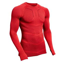 Ondershirt met lange mouwen voor voetbal heren Keepdry 500 rood