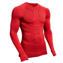 Ondershirt met lange mouwen voor voetbal volwassenen Keepdry 500 rood