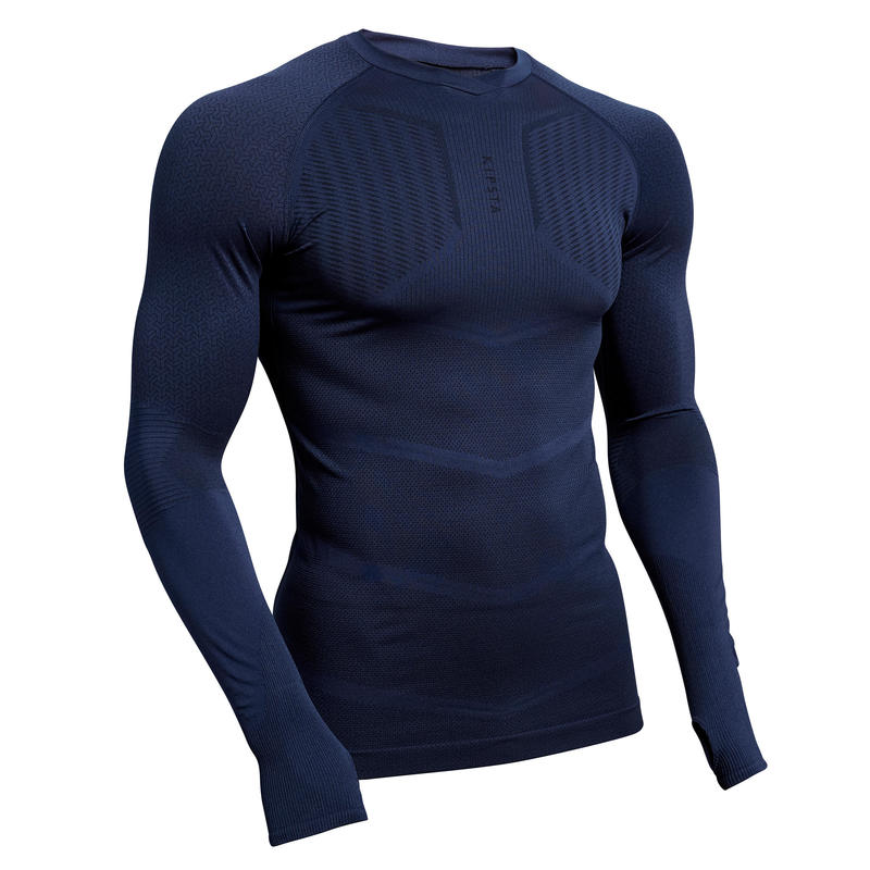 Men's Long-Sleeved Football Base Layer Top Keepdry 500 - Dark Blue