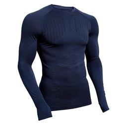 Ondershirt voor voetbal heren Keepdry 500 lange mouwen donkerblauw