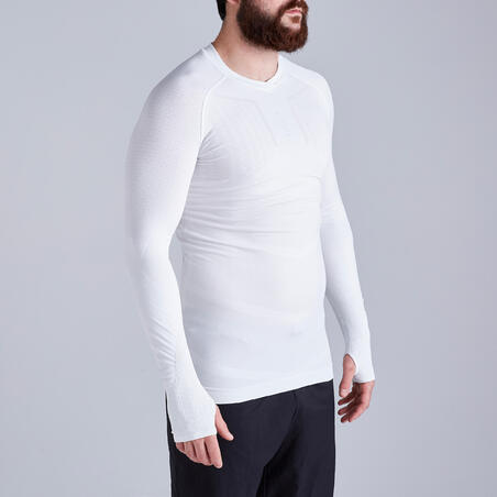 Men's Football Long-Sleeved Base Layer Top Keepdry 500 - White