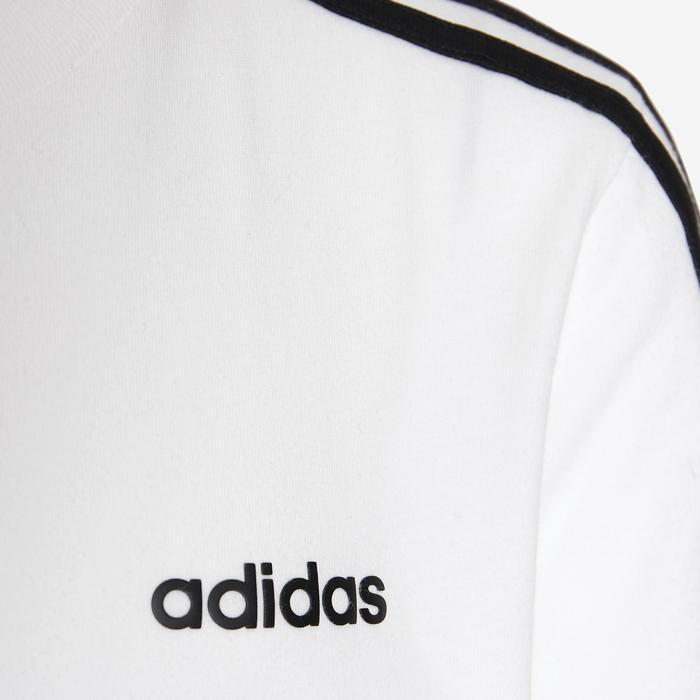 Jongens-T-shirt van Adidas, wit met 3 lijnen