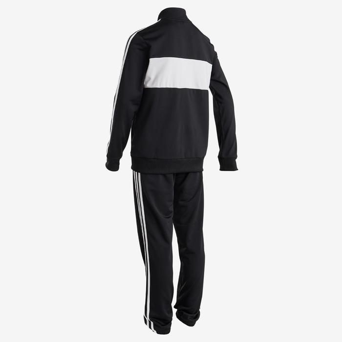 Survêtement garçon noir, logo sur la poitrine, 3 bandes blanches adidas