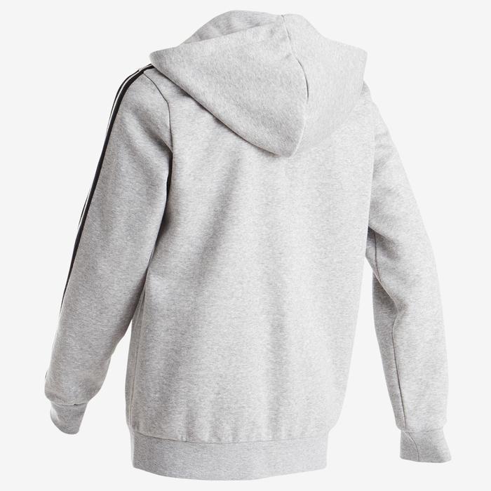 Trainingsvest met kap voor jongens van Adidas, Adidas-logo op de borst, grijs