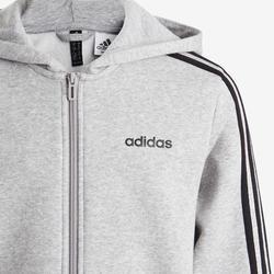 Veste 3 bandes garçon à capuche grise pour la gym, logo adidas sur la poitrine