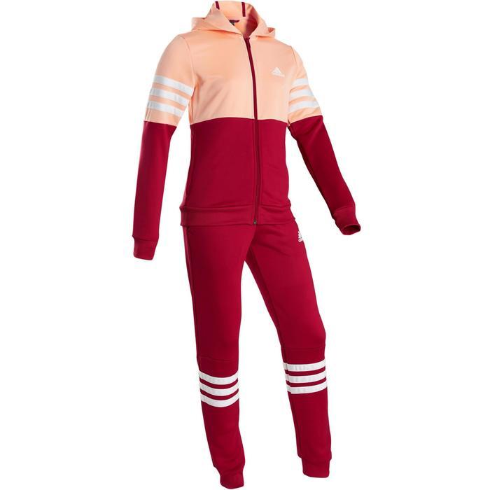 Trainingspak met kap voor meisjes, roze met Adidas-logo op de borst