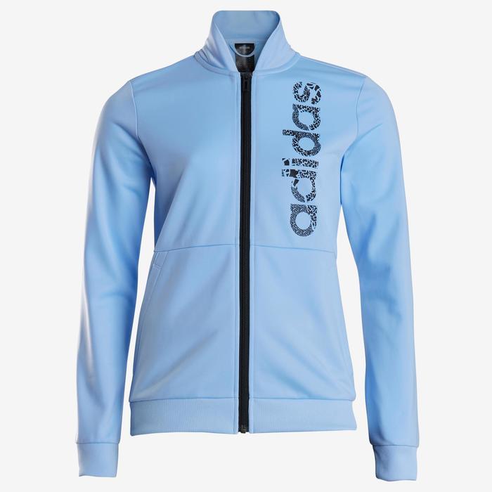 Survêtement fille bleu pour la gym avec logo adidas sur la poitrine