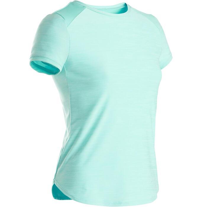 Ademend synthetisch gymshirt met korte mouwen voor meisjes S500 blauw