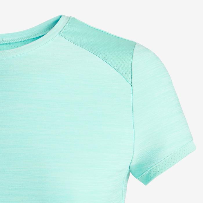 T-Shirt synthétique respirant manches courtes S500 fille GYM ENFANT bleu