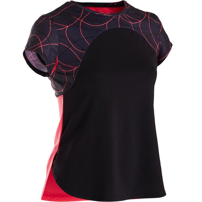 Ademend gymshirt met korte mouwen voor meisjes S900 effen zwart vooraan