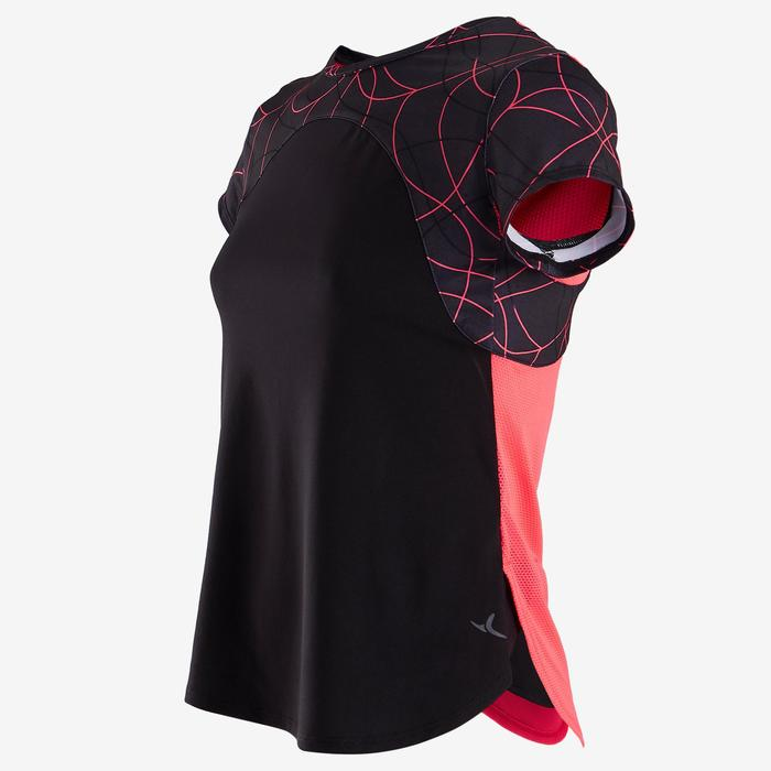 T-Shirt manches courtes respirant S900 fille GYM ENFANT noir uni devant