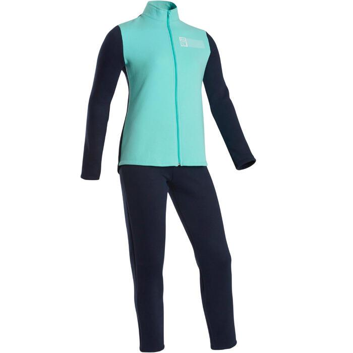 Trainingsanzug warm 100 Gym Warmy Zip Kinder blau/marineblau