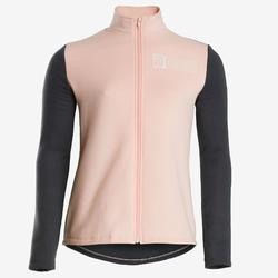 Trainingsanzug warm 100 Warmy Zip Gym Kinder rosa/grau