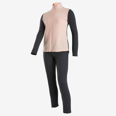 Survêtement Ensemble chaud 100 fille GYM ENFANT rose clair/gris Warmy Zip