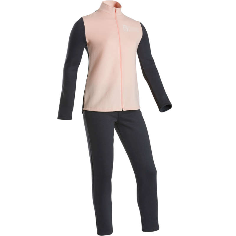 GIRL EDUCATIONAL GYM COLD WEATHER APP Fitness and Gym - 100 Warmy Girls' Gym Tracksuit DOMYOS - Gym Activewear