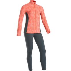 Trainingsanzug warm 100 Gym Kinder rosa bedruckt/graue Leggings