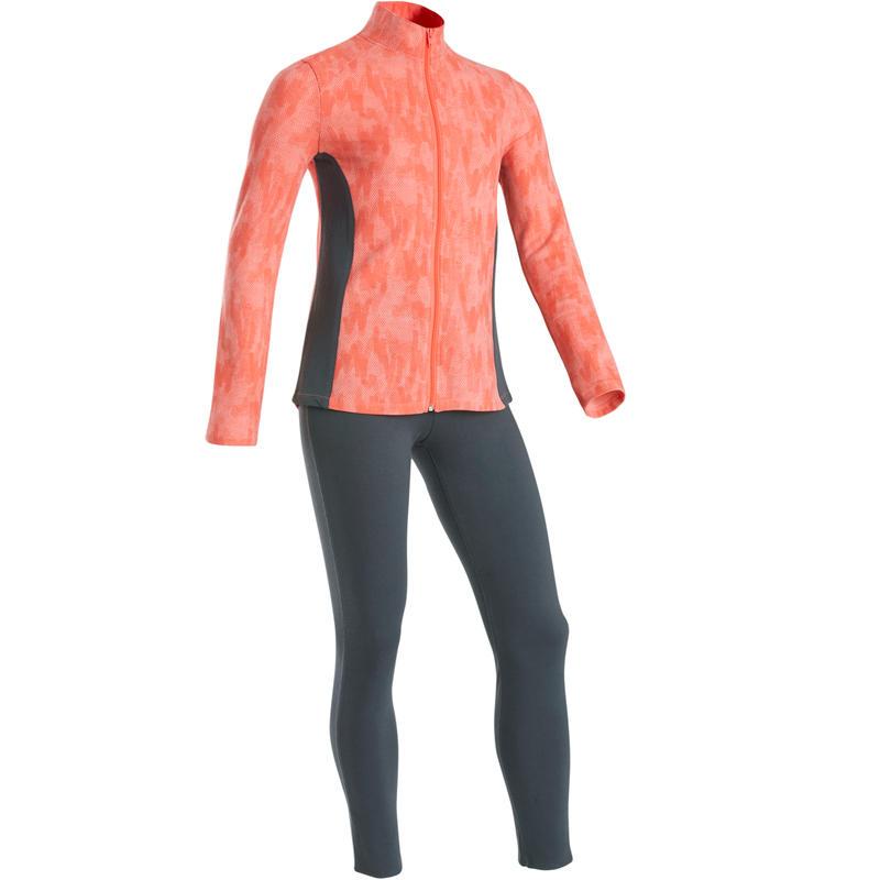 Survêtement chaud 100 fille GYM ENFANT rose imprimé et legging gris