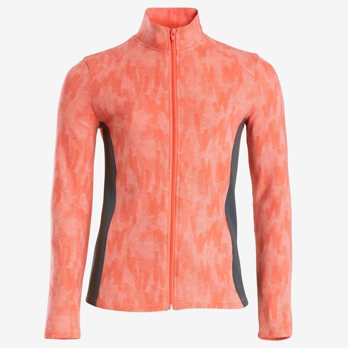 Warm trainingspak voor gym meisjes 100 roze print/legging in grijs