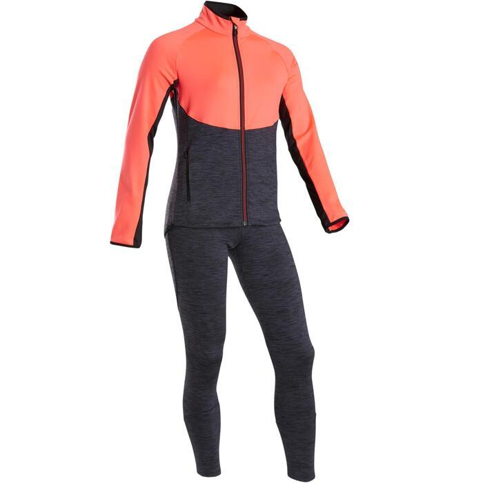 Warm en ademend trainingspak voor gym meisjes S500 synthetisch roze/grijs