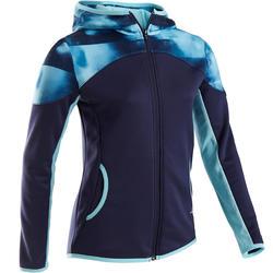 Casaco quente sintético e respirável Ginástica menina S500 Azul, estampado ombro