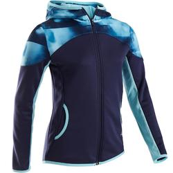 Trainingsjacke warm, atmungsaktive Synthetik S500 Gym Kinder blau mit Print