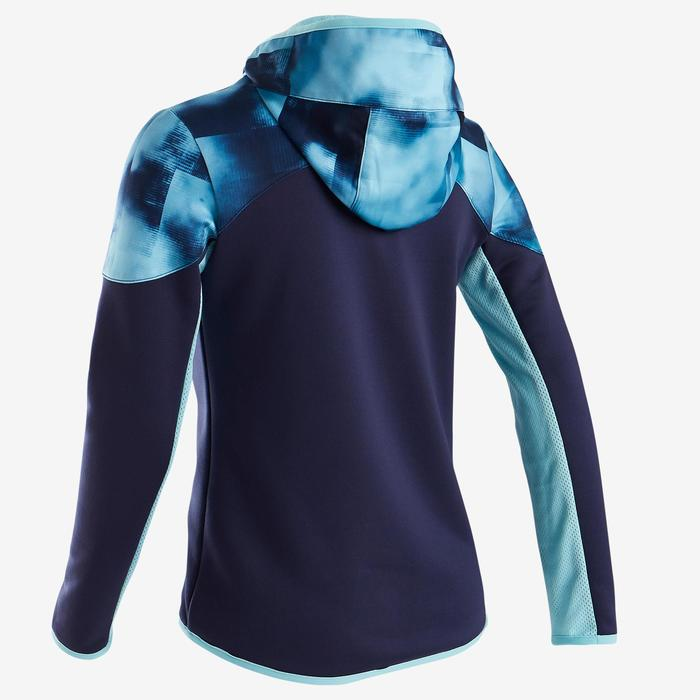 Trainingsjacke warm Synthetik atmungsaktiv S500 Gym Kinder blau mit Print