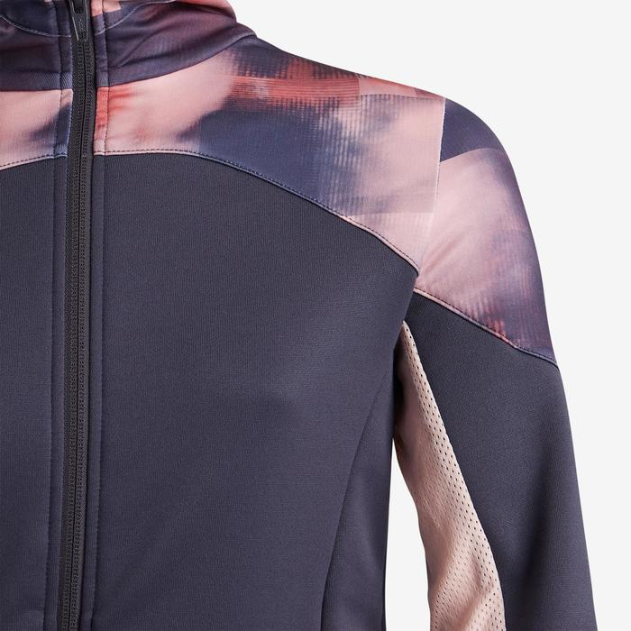Girls' Warm Breathable Synthetic Gym Jacket S500 - Black/Pink Print
