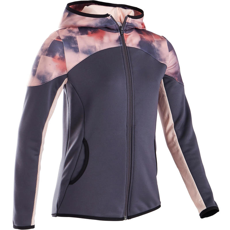 S500 Girls' Warm Breathable Synthetic Gym Jacket– Black/Pink