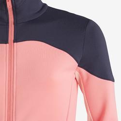 Warm en ademend synthetisch gymvest voor meisjes S500 roze, grijs op schouder