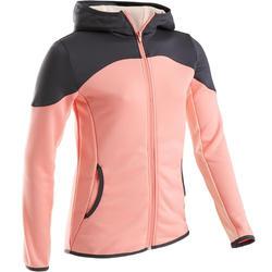 Warme gymhoodie meisjes S500 ademend synthetisch materiaal roze grijze schouders