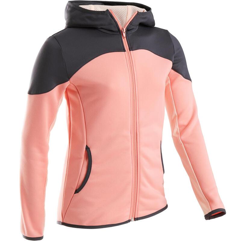 Veste chaude, synthétique respirante S500 fille GYM ENFANT rose,gris sur épaules