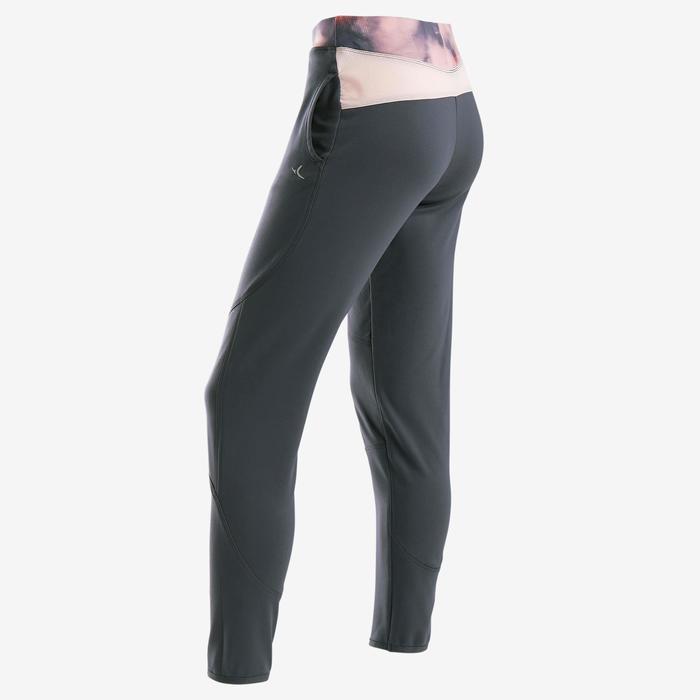女童保暖透氣健身長褲S500 - 海軍藍/粉色印花腰帶
