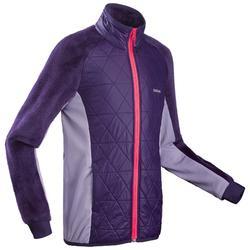 女童款7至15歲超保暖雪地健行混合刷毛衣SH500–紫色