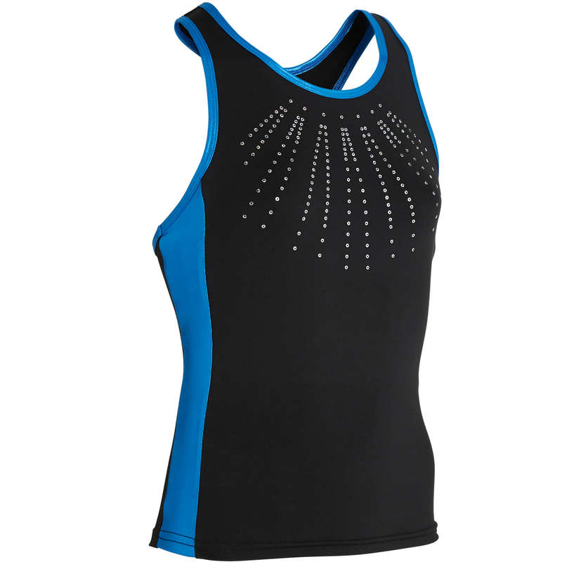 WOMEN ARTISTIC GYM APPAREL, HAND GRIP Swimwear and Beachwear - Gymnastics Tank Top 500 - Blue DOMYOS - Swimwear and Beachwear