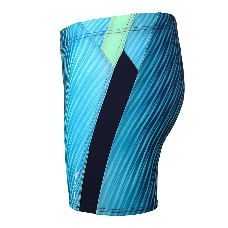 Men's Swim Boxers 500 - Black Blue Lines