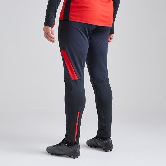 Voetbal trainingsbroek T500 grijs/rood