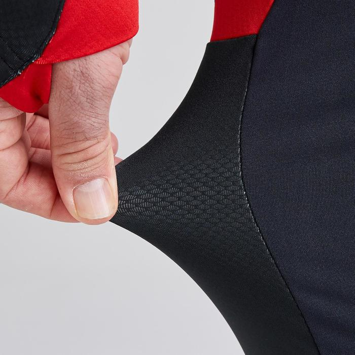 Voetbalbroek T500 grijs/zwart/rood