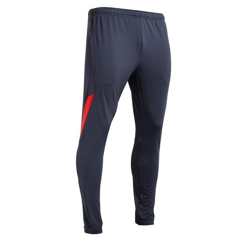 Pantalon de football adulte T500 gris carbone rouge