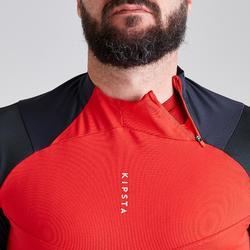 Trainingsjack voetbal T500 grijs/rood
