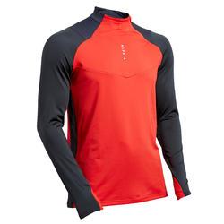 Trainingsshirt voor voetbal volwassenen T500 halve rits antracietgrijs/rood