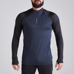 成人款半開式拉鍊足球訓練運動衫T500-碳黑色