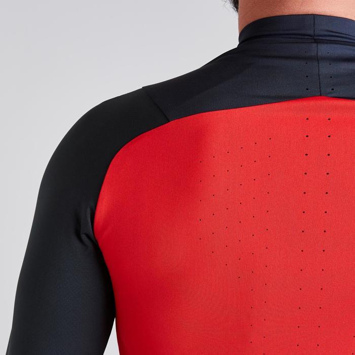 Sweatshirt T500 1/2 Zip Erwachsene grau/rot
