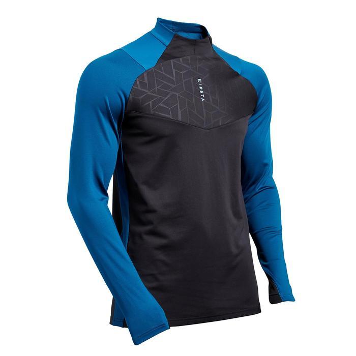 Sweat de football 1/2 zip adulte T500 édition limitée bleu pétrole et noir