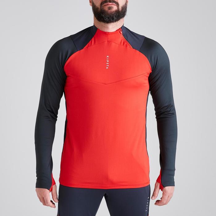 Sweater met halve rits volwassenen T500 grijs/rood